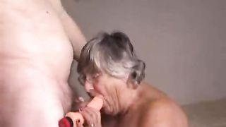 My hubby finds one of my dildos and compares it with his own big cock � feeding them both into my mouth at the same time. He then lays me down and fucks my dripping wet hole with the dildo making me moan with pleasure...