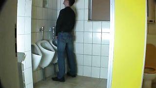 Hubby fucks a slut wife in a public bathroom