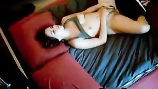 Girlfriend spied in her bedroom rubbing her pussy Hidden camera placed high on a shelf