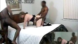 In this movie, a slutty wife sure made his cuckold husband sit through everything those 2 big dudes did to her.   As she moaned, being pounded by those men, her cuckold husband just got to watch his wife having the   greatest orgasm of her life.