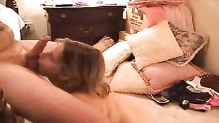 Blonde hot white cheating wife submissively blows my dong for facial