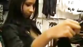 Shameless breasty slutwife provides me with wild orall-service in dressing room