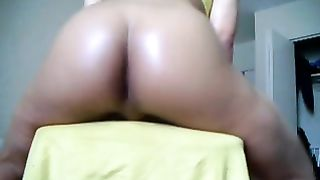 Homemade solo with my dirty slut wife demonstrating her oiled wazoo