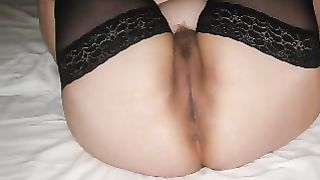 My obese bottomed hotwife in dark nylons likes missionary position