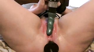 Pleasing my curvy wife's juicy holes with 2 drill dildos