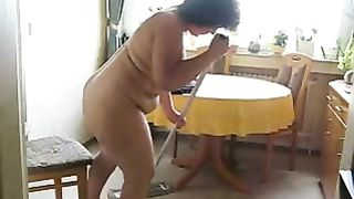 My chubby brunette hair horny white wife cleans the abode out of clothes