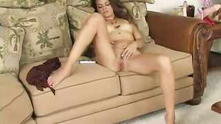 Brazen dark brown white wife of mine masturbates on sofa all stripped