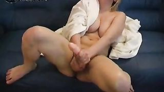 Chubby blondie with large tits masturbates with large marital-device