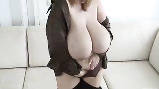 My wicked BBC slut shows off her giant melons each chance that babe receives