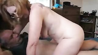 My aged redhead amateur wife sucks my penis and takes a ride on it
