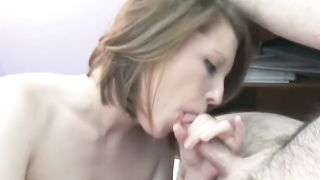 Small-boobed woman shows her good oral pleasure skills to a man