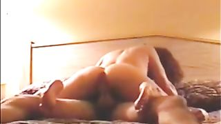 My excited slutty wife copulates me in the cowgirl position in the bedroom