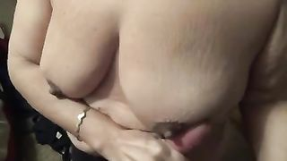 My breasty older white women pleases me with a cook jerking and a titjob