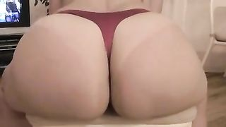 A giant white booty of my wife in taut pants on amateur sex movie