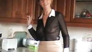 Lusty blond aged wife Sara shows off her goodies in kitchen