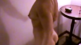 My milf slutty wife teases me topless with her hot ass crack