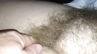 Rubbing my wife's curly wet crack in front of a camera