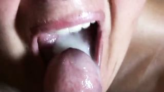 My hot dirty slut wife sucked my wang deepthroat and drank the cum