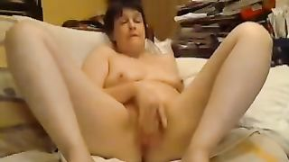 Naughty mature amateur wife cums multiple times while fucking herself with dildo