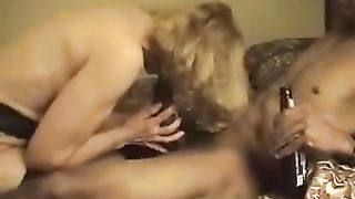 Kinky golden-haired floozy enjoys ardent interracial sex