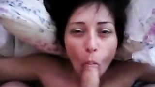 My short-haired brunette hair horny white wife doesn't mind to give me a head