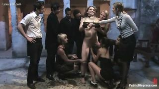 Submitted and marvelous golden-haired drilled and abused by crowd