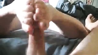 Sexy golden-haired wifie is giving me sexy footjob with her delicate soles