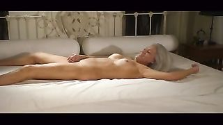 My grey-haired white bitch undresses and lets me fuck her wet crack doggy style