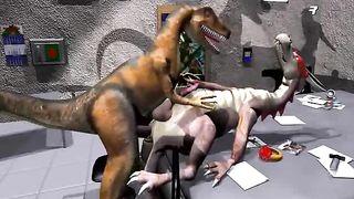 Sex hungry dinosaurs enjoying precious lovemaking