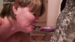 Old black cock slut takes a dog meat inside her mouth