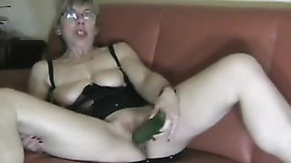 My lewd blonde dirty slut wife slams her dark hole with a cucumber