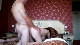 Bald headed stud drills his horny white wife missionary and doggy styles