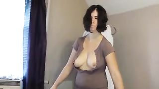 Erotic homemade movie with my dark brown white women flashing her love bubbles