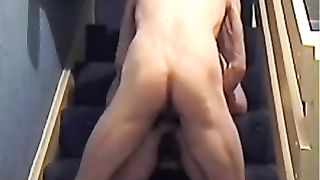 Pounding my housewife on the stairs in doggy style position