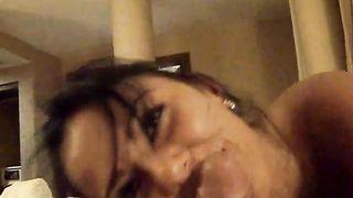 Beautiful Romanian brunette white women is enjoying my soaked cock