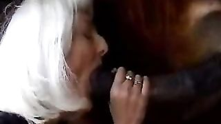 White haired bitch sucks a horse's jock