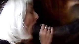 White haired bitch sucks a horse's jock