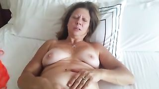 My bulky dirty slut wife lets me watch her fingering her cooch