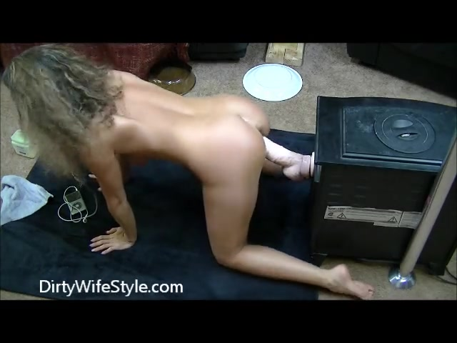 Latina Riding Huge Dildo