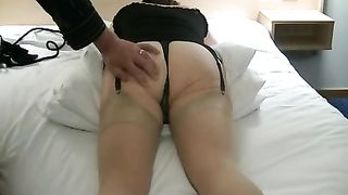 Chubby white hotwife in hot nylons shows her pussy