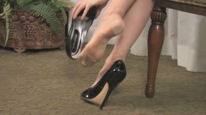 Her nylon feet