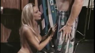 Busty golden-haired sexpot gives her lustful guy a great oral-job