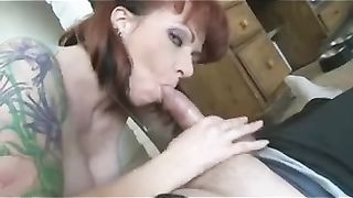 Wife's perverted redhead girlfriend gave me deepthroat orall-service
