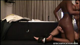 Bootyful black whore humps on top of hard pecker in advance of getting fucked doggy style