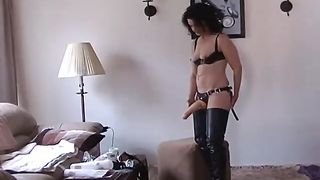 amateur wife fucking husband with strapon and handjob! My wife fucks ass own Cuckold