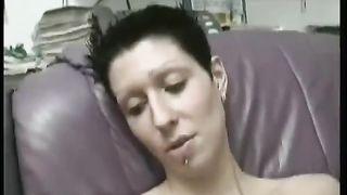Dark-haired European tall floozy masturbates with smooth sex tool