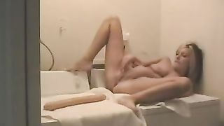 Busty hawt juvenile horny white wife plays in the laundry room