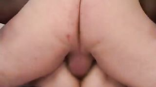 Chubby milf wearing nylons receives her unshaved vagina smashed
