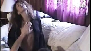 Devilish brunette hair hooker rides hard dick while smokin' cigarette