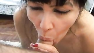 Amazing oral-service from my brunette hair beautiful milf wifey
